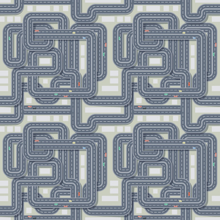 cross roads: City map and roads seamless pattern. Graphic design element for navigation, cartography, traffic concept with roads, cross, cars. Perfect for background, backdrop