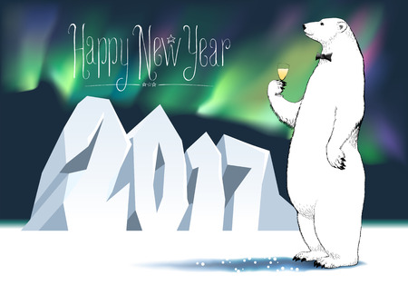 Happy new year 2017 seasonal greeting card. Polar bear with champagne, wine funny nonstandard celebration illustration. Design element with Happy New Year hand drawn lettering and number 2017 Illustration