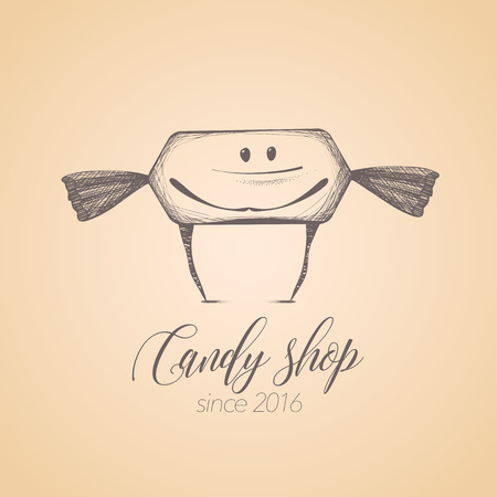 candy store: Sweet shop, candy store confectionery  icon, symbol, emblem. Cute graphic design element, illustration with candy, lollipop, bonbon, caramel character for sweet shop menu, tshirt Illustration