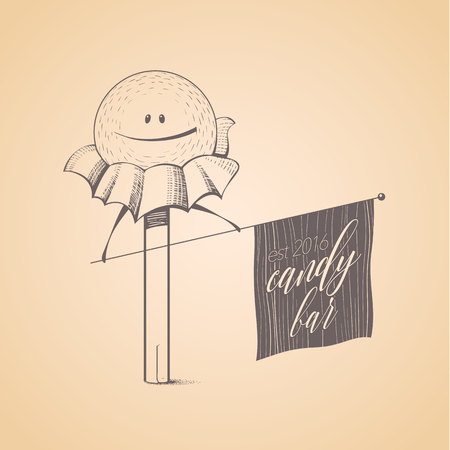 bonbon: Sweet shop, candy store confectionery icon, symbol, emblem. Cute funny hand drawn graphic design element with candy stick, lollipop, bonbon, caramel. Sweet food and candy concept Illustration