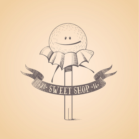 bonbon: Sweet shop, candy store confectionery , icon, symbol, emblem. Cute funny graphic design element, illustration with candy stick, lollipop, bonbon wrapped, caramel character