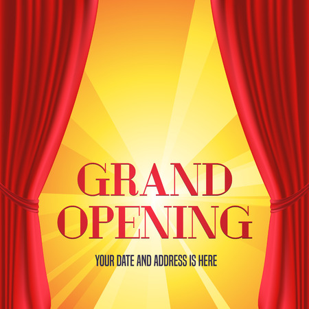 Grand opening illustration, background with red curtain and gold lettering sign. Template ,  design element, decoration for opening ceremony