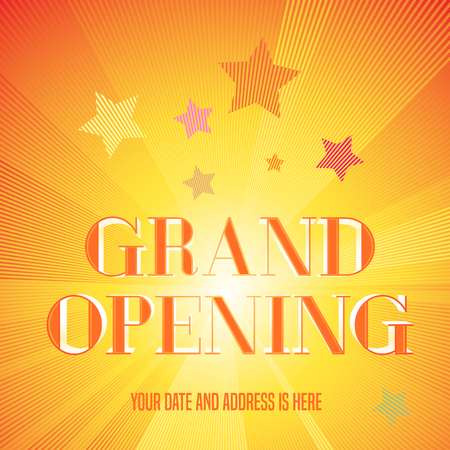 Grand opening illustration, background with golden lettering sign. Template design element, decoration for opening ceremony