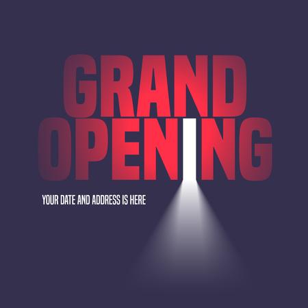Feierliche Eröffnung Illustration, Hintergrund mit offener Tür, Licht und Schriftzug Zeichen. Template-Design-Element, Dekoration für Eröffnungsveranstaltung