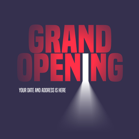 Grand opening illustration, background with open door, light and lettering sign. Template  design element, decoration for opening event Stock Illustratie