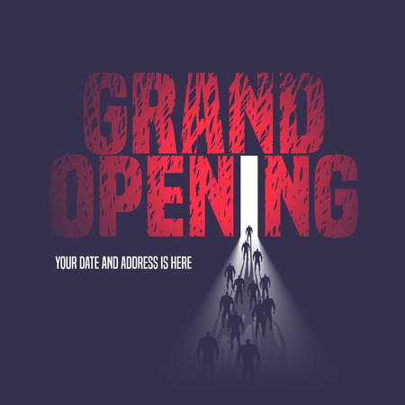 grand open: Grand opening illustration, background with open door and walking people. Template nonstandard  design element, decoration for opening event
