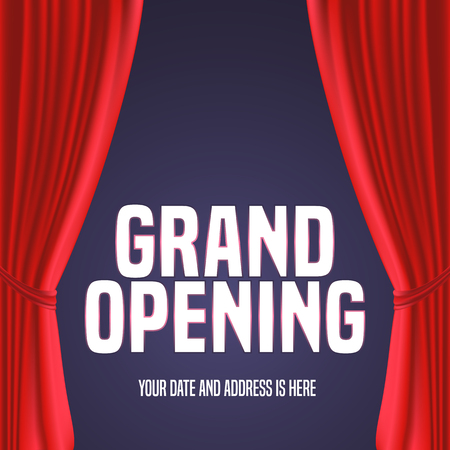 Grand opening , illustration. Template festive design element with red curtain, sign for opening ceremony