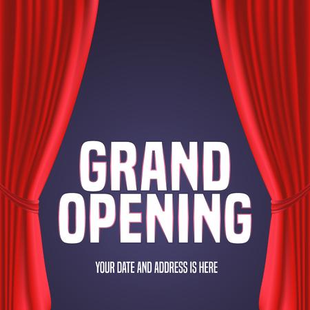 Grande ouverture, illustration. Modèle festif élément de design avec rideau rouge, signe pour la cérémonie d'ouverture Banque d'images - 63908111