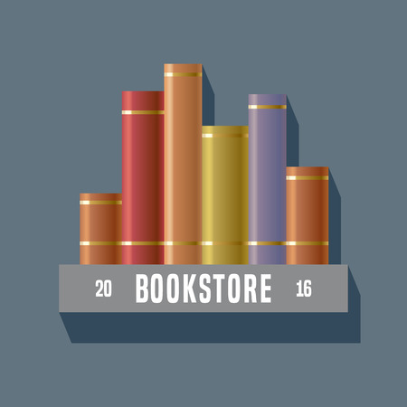 book store: Bookstore, bookshop, library sign, icon, symbol, emblem. Graphic design element with books on shelf for book store, book shop, e-books