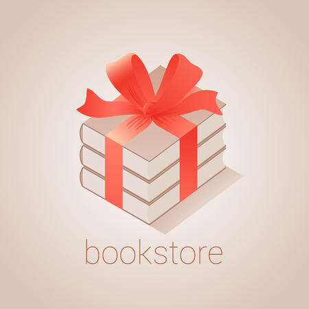 book store: Bookstore, bookshop emblem, sign, symbol, icon. Graphic design element with books as gift for book store, book shop, e-books. Education concept illustration