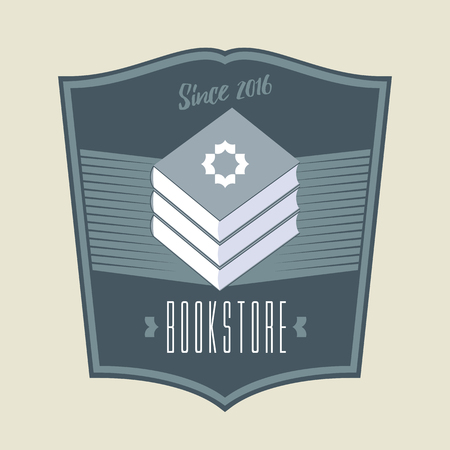 book store: Bookstore, bookshop sign, icon, symbol, emblem. Vintage style graphic design element with books for business related to book shop, book store