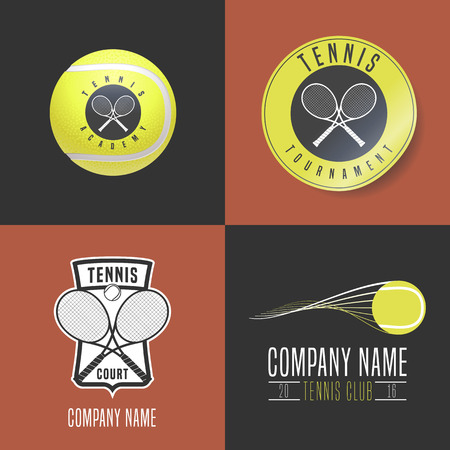 cross match: Tennis, sport set of icon, symbol, emblem, badge. Collection of modern and vintage graphc design elements with tennis ball, racket for college league, court, championship, tournament