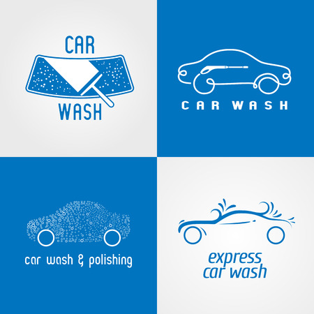 Carwash, car wash set of icon, symbol, emblem, sign. Template isolated graphic design elements for business related to cars, automobile, vechicles washing service Illusztráció
