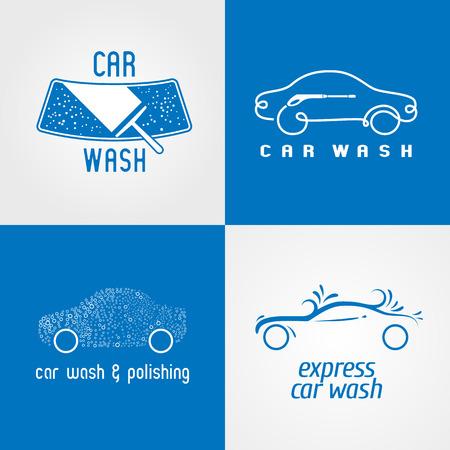 carwash: Tren de lavado, lavado de coches conjunto de icono, símbolo, emblema, muestra. aislado plantilla elementos de diseño gráfico para los negocios relacionados con automóviles, automóvil, servicio de lavado vechicles
