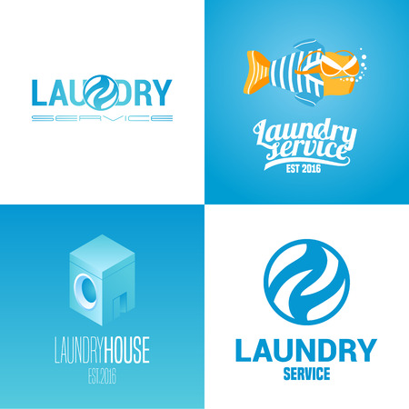 bleached: Laundry, washing service collection of  icon, symbol, emblem. Graphic template design elements with washing machine for business related to laundry