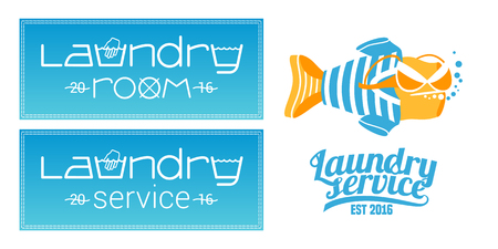 bleached: Laundry, washing service set of icon, symbol, emblem. Template design elements with washing machine for business related to laundry
