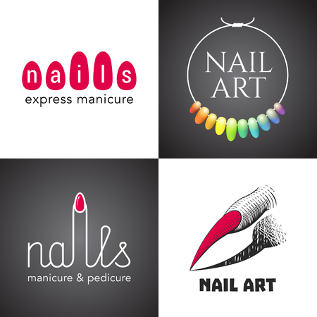 nails art: Set of nails salon, nails art , icon, symbol, emblem, sign. Template graphic design element with tools for nails - lacquer, finger