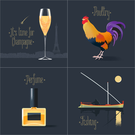french perfume: Set of posters, postcards, design, illustration for France. French symbols - rooster, perfume, glass of French champagne, fishing boat. Travel to France concept Illustration
