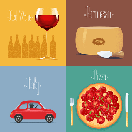 parmesan cheese: Set of posters,  postcards, illustration for Italy. Italian symbols - red wine, parmesan cheese, small car, Italian pizza. Travel to Italy concept Illustration