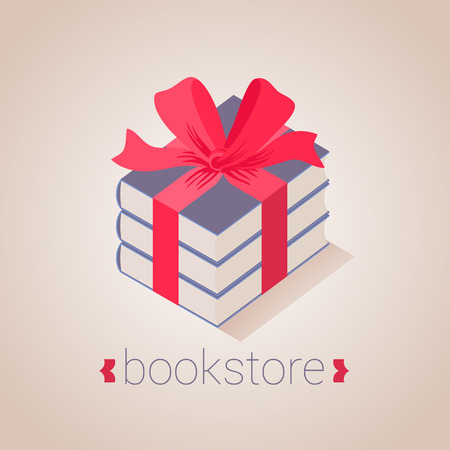 Bookstore, bookshop vector sign, icon, symbol, emblem. Graphic design element with books as a gift for book store, book shop, e-books. Education, studying concept image Illustration