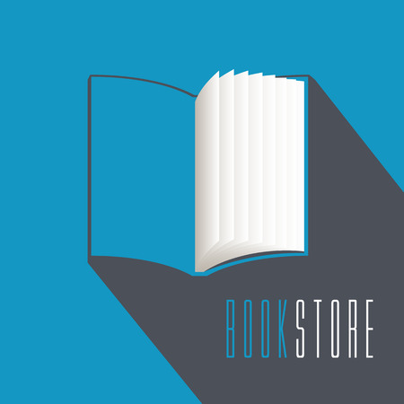 publishing: Bookstore, bookshop, library vector emblem, sign, symbol, icon. Template design element with open book for business related to books. Publishing and studying business concept