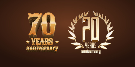 70 years anniversary set of vector, icon, number. 70th birthday, marriage or graduation anniversary design elements in gold