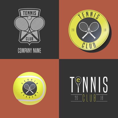 cross match: Tennis, sport set of vector, icon, symbol, emblem, badge. Collection of graphic design elements with tennis ball, tennis racket for college league, court, shop with equipment