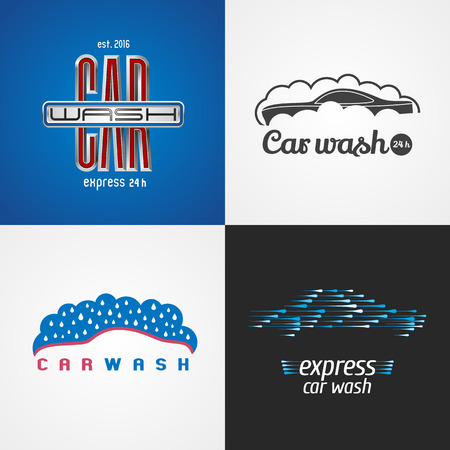 carwash: Carwash, car wash set of vector, icon, symbol, emblem, sign. Template isolated graphic design elements for business related to cars, automobile, cleaning service Illustration