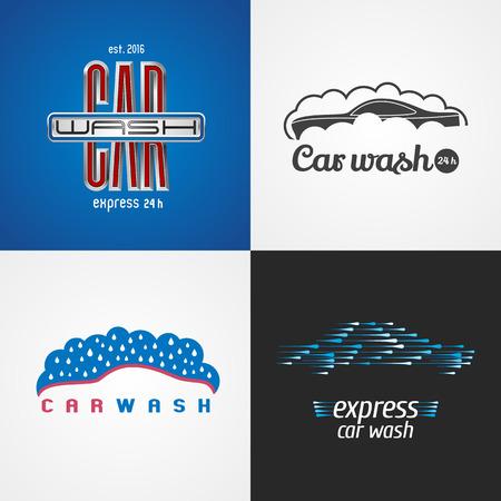 carwash: Tren de lavado, lavado de coches conjunto de vector, icono, símbolo, emblema, muestra. aislados elementos de diseño gráfico de plantilla para los negocios relacionados con automóviles, automóvil, servicio de limpieza