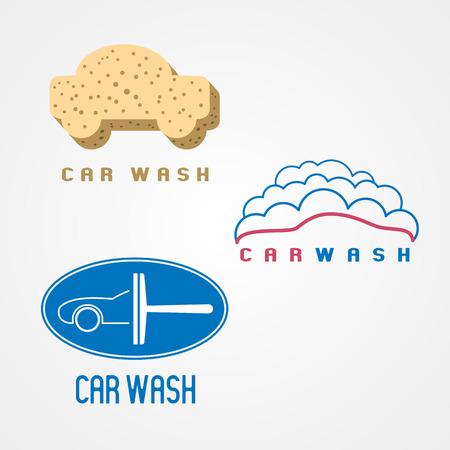 carwash: Tren de lavado, lavado de coches conjunto de vector, icono, símbolo, emblema, muestra. Elementos de diseño gráfico para los negocios relacionados con automóviles de limpieza Vectores