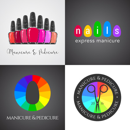 nails art: Set, collection of nails salon, nails art vector, icon, symbol, emblem, sign. Graphic design element for business related to nails - shop, store, boutique, service