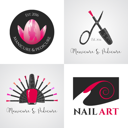 Set of nails salon, nails art vector, icon, symbol, emblem, sign. Graphic design element with nails tools - lacquer, scissors, finger