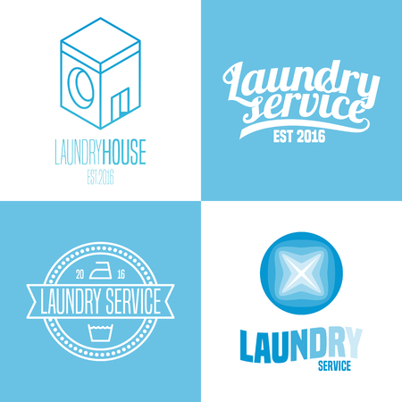 bleached: Laundry, washing service set of vector, icon, symbol, emblem, sign. Design elements with washing machine for business related to laundry