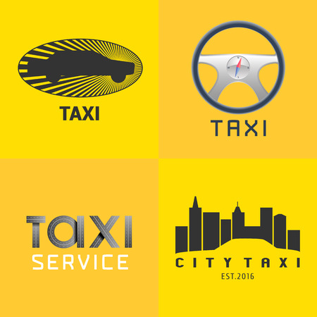 Taxi, cab set of vector, icon, background. Car hire black and yellow badge, app, emblem. Steering wheel with sign taxi design element