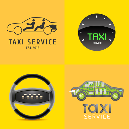 Taxi Cab Set Of Vector Icon Car Hire Black And Yellow