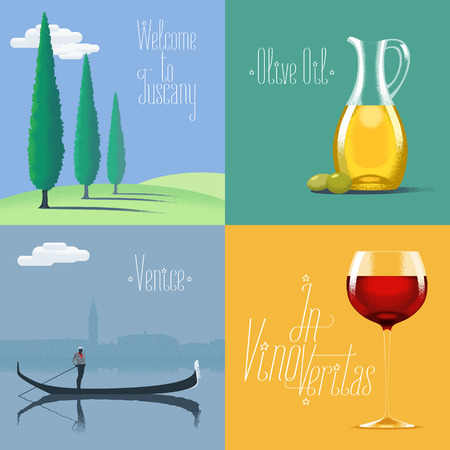 tuscany vineyard: Set of vector posters, flyers, postcards, designs, illustration for Italy. Italian symbols - Tuscany landscape, olive oil, Venice gondola, red wine. Travel to Italy concept