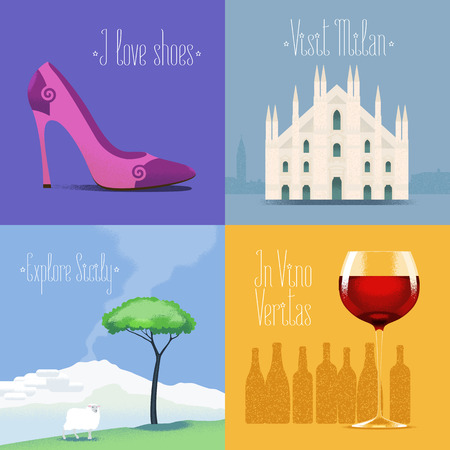 Set of vector posters, flyers, postcards, design, illustration for Italy. Italian symbols - Milano Duomo, Etna mount, red wine, high heel shoes. Travel to Italy concept