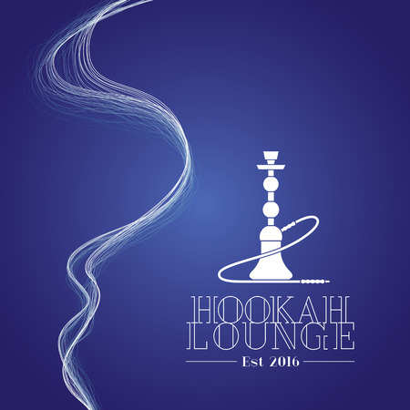 lounge bar: Hookah vector, icon, symbol, emblem, sign. Isolated decorative graphic design element with smoke for hookah lounge, bar. Turkish, eastern style label, background