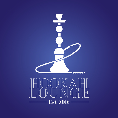 bar lounge: Hookah vector, icon, symbol, emblem, sign. Template graphic design element for menu of hookah lounge, bar, vintage style decoration concept