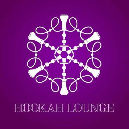 lounge bar: Hookah vector, icon, symbol, emblem, sign. Isolated decorative graphic design element for hookah lounge, bar. Turkish, Arabic style label Illustration