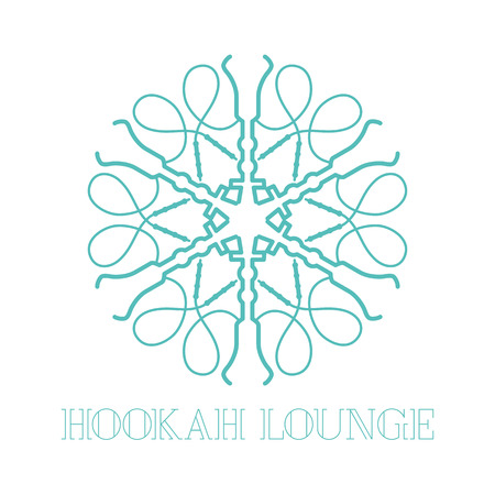 chill: Hookah vector, icon, symbol, emblem, sign. Isolated decorative graphic design element with oriental ornament for hookah lounge, bar. Turkish, eastern style label Illustration