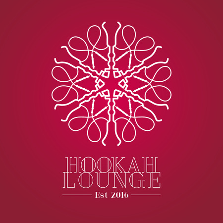 lounge bar: Hookah vector, icon, symbol, emblem, sign. Template graphic design element for menu of hookah lounge, bar, vintage style insignia