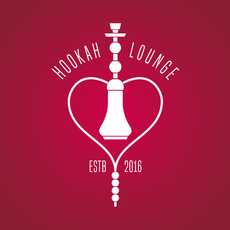 lounge bar: Hookah vector, icon, symbol, emblem, sign. Isolated decorative graphic design element for traditional hookah lounge, bar. Turkish, eastern style background