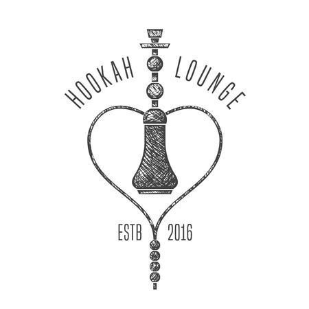 lounge bar: Hookah vector, icon, symbol, emblem, sign. Nonstandard template graphic design element for menu of hookah lounge, bar, vintage style decoration Illustration