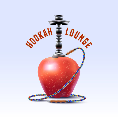 chill: Hookah vector, icon, symbol, emblem, sign. Unique template graphic design element for menu of hookah lounge, bar, vintage style insignia