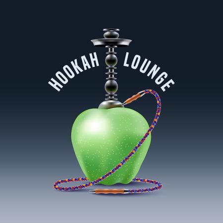 lounge bar: Hookah vector, icon, symbol, emblem, sign. Nonstandard template graphic design element with apple for menu of hookah lounge, bar, vintage style decoration, illustration