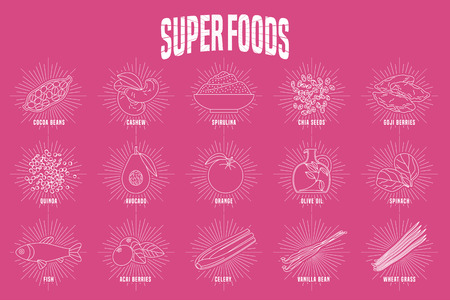 Set of superfoods products, berries, green in vector. Thin line icons, design elements of cocoa beans, wheatgrass, acai seeds, spirulina, quinoa for super food alternative medicine concept