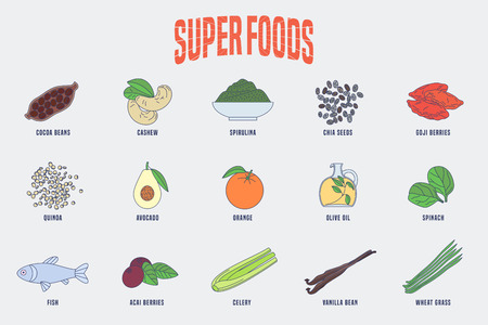 Set of superfoods products, berries, green in vector. Icons, design elements of cocoa beans, goji berry, acai seeds, spirulina, quinoa for super food wellness concept Illustration