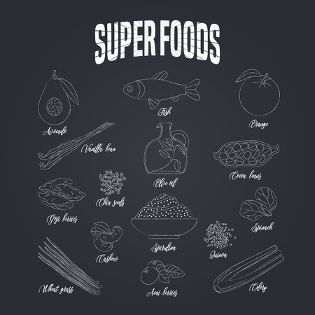 Set of superfoods products, berries, green on blackboard in vector. Icons, symbols, emblems of cocoa beans, goji berry, vanilla beans, spirulina, avocado for super food nutrition vegetarian concept Illustration