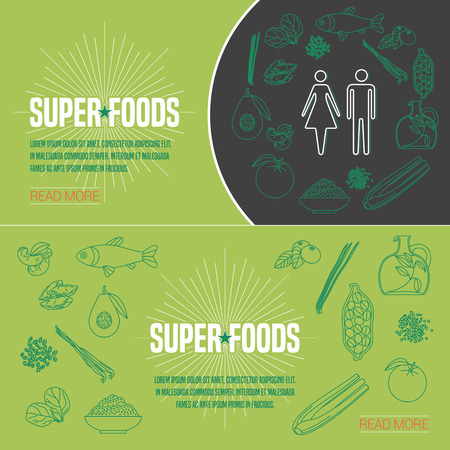 Set of superfoods products, berries, roots in vector. Icons, design elements, internet banners with cacao beans, goji berry, spirulina for super food vegetarian eating concept Illustration